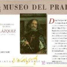 Tarjetas telefónicas de colección: FOLDER MUSEO DEL PRADO DEDICADO A VELAZQUEZ, PRECIOSO. Lote 26202234