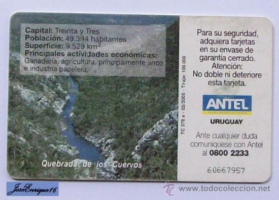 Tarjetas telefónicas de colección: TC 376a MONUMENTO A DIONISIO DIAZ, TREINTA Y TRES, URUGUAY. QUEBRADA DE LOS CUERVOS. ANTEL - Foto 2 - 19514494
