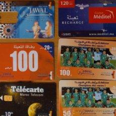 Tarjetas telefónicas de colección: LOTE TARJETAS TELEFONICAS DE MARRUECOS,FUTBOLL,FOOTBALL,DIFERENTES.. Lote 25945588