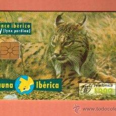 Tarjetas telefónicas de colección: PRECIOSAS TARJETAS DE ESPAÑA USADAS LINCE TUMBADO L GRUESA CHIP FN4. Lote 27878856