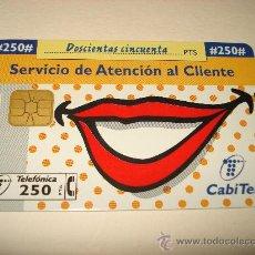 Tarjetas telefónicas de colección: TARJETA TELEFONICA 250 PTA SERVICIO ATENCION CLIENTE. Lote 29904247