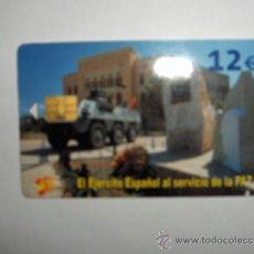 Tarjetas telefónicas de colección: TARJETA TELEFONICA, EL EJERCITO ESPAÑOL AL SERVICIO DE LA PAZ,2003, DIFICIL DE CONSEGUIR. Lote 37494414