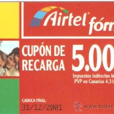 Tarjetas telefónicas de colección: TARJETA DE TELEFONO AIRTEL PLASTICO. Lote 218590626