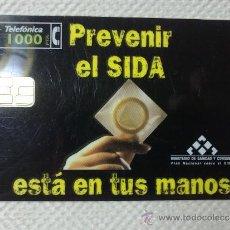 Tarjetas telefónicas de colección: TARJETA DE TELEFONOS AÑOS 90-PREVENIR EL SIDA- USADA. Lote 37943134