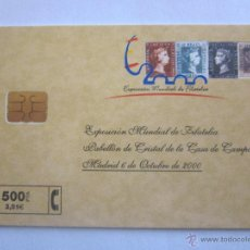 Tarjetas telefónicas de colección: TARJETA TELEFÓNICA ESPAÑA EXPOSICIÓN MUNDIAL DE FILATELIA. TIRADA 8.000. AÑO 2000. Lote 48227953