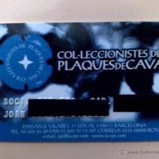 Tarjetas telefónicas de colección: TARJETA PERSONAL-SOCI-COL-LECCIONISTES DE PLAQUES DE CAVA. Lote 51726931