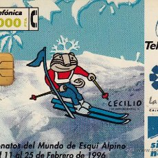 Tarjetas telefónicas de colección: ESPAÑA.CAMPEONATO DEL MUNDO DE ESQUÍ ALPINO. 01/96. Lote 53360755