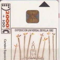 Tarjetas telefónicas de colección: CP-004 (CON LA M) TARJETA DE ESPAÑA DE LA EXPO SEVILLA 92 PEREZ ENCISO (NUEVA-MINT) ¡A PRECIO FACIAL. Lote 54327303
