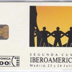 Tarjetas telefónicas de colección: P-003 TARJETA DE LA II CUMBRE IBEROAMERICANA DE TIRADA 3000 (NUEVA). Lote 56157335