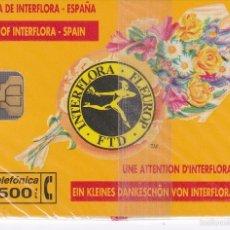 Tarjetas telefónicas de colección: P-024 TARJETA DE ESPAÑA INTERFLORA DE TIRADA 2000 NUEVA. Lote 56157486