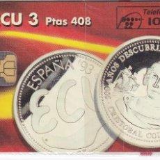 Tarjetas telefónicas de colección: P-043 TARJETA DE ESPAÑA DE LAS MONEDAS DE ECU (COIN-MONEDA) NUEVA CON BLISTER. Lote 56278553