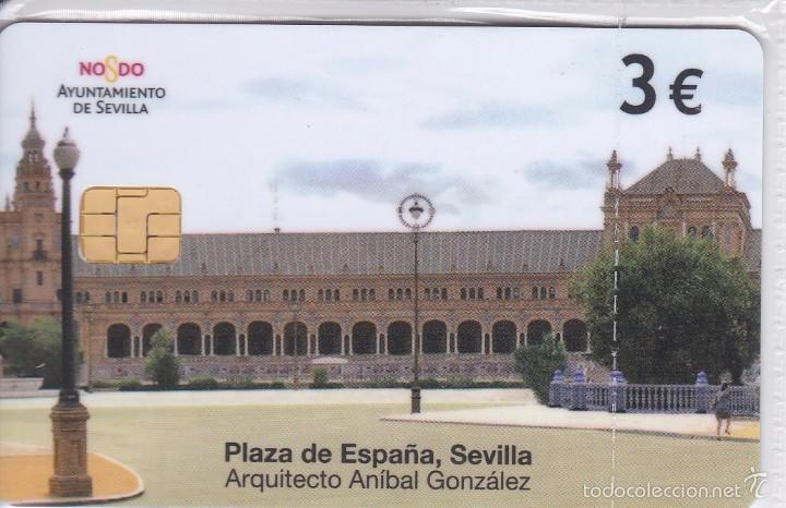 P-605 TARJETA DE LA PLAZA DE ESPAÑA DE SEVILLA DE 3 EUROS Y FECHA DEL 04/10 (NUEVA-MINT) (Coleccionismo - Tarjetas Telefónicas)
