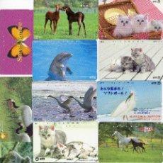 Tarjetas telefónicas de colección: LOTE DE 14 TARJETAS TELEFONICAS DE JAPON. ANIMALES.. Lote 75557679