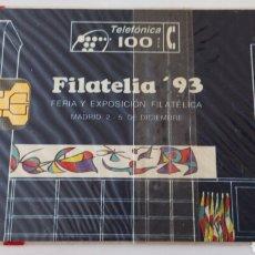 Tarjetas telefónicas de colección: TARJETA TELEFÓNICA DE 100 PTA FILATELIA 93 CENTENARIO JOAN MIRÓ. SIN ABRIR CON BLISTER. Lote 85833172