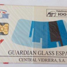 Tarjetas telefónicas de colección: TARJETA TELEFÓNICA DE 100 PTA GUARDIAN GLASS ESPAÑA CENTRAL VIDRIERA LAMIGLAS. SIN ABRIR CON BLISTER. Lote 85833730
