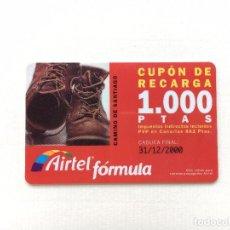 Tarjetas telefónicas de colección: TARJETA CUPÓN DE RECARGA AIRTEL FÓRMULA 1000 PESETAS CADUCA 31/12/2000 CAMINO DE SANTIAGO. Lote 91433260