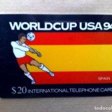 Tarjetas telefónicas de colección: TARJETA TELEFONICA INTERNATIONAL (20$) ESPAÑA-WORLDCUP FUTBOL USA '94,EDICION LIMITADA (DESCRIPCIÓN). Lote 96823915