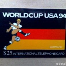 Tarjetas telefónicas de colección: TARJETA TELEFONICA INTERNATIONAL (25$) ALEMANIA WORLD CUP USA '94-EDICIÓN LIMITADA (DESCRIPCIÓN). Lote 96834207