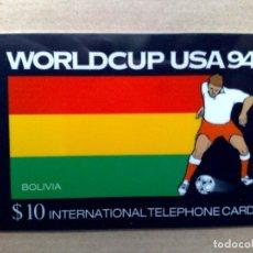 Tarjetas telefónicas de colección: TARJETA TELEFONICA INTERNATIONAL (10$) BOLIVIA WORLD CUP USA '94-EDICIÓN LIMITADA. (DESCRIPCIÓN). Lote 96834415