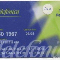 Tarjetas telefónicas de colección: TARJETA PERSONAL. Lote 118066351