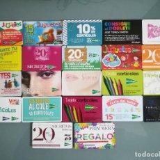 Tarjetas telefónicas de colección: 22 TARJETAS DE EL CORTE INGLES. Lote 53294566