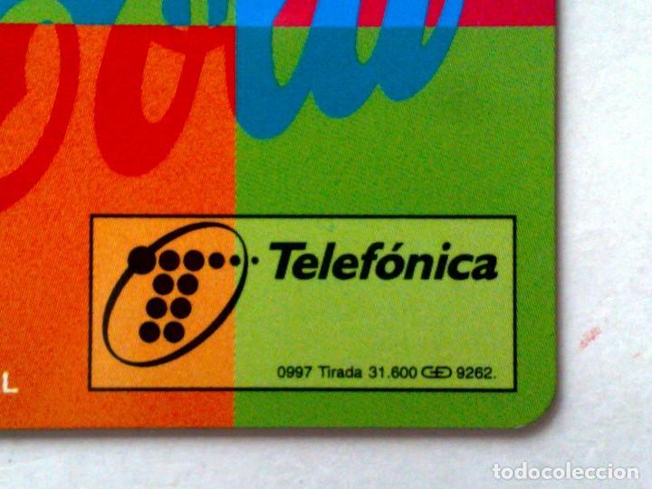 Tarjetas telefónicas de colección: P-289;TARJETA TELEFONICA-COCA~COLA-MOSAICO ¡¡ENSAYO!! SIN CHIP Y FALTA NÚMERACIÓN-DESCRIPCIÓN - Foto 2 - 126230323