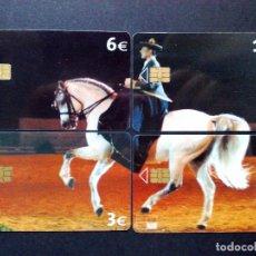 Tarjetas telefónicas de colección: PUZZLE DE 4 TARJETAS TELEFONICAS (3€+3€+6€+12€) CABALLO ESPAÑOL,USADAS.. Lote 129334455