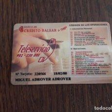 Tarjetas telefónicas de colección: TARJETA COORDENADAS BANCO DE CRÉDITO BALEAR.. Lote 130105891