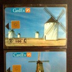 Tarjetas telefónicas de colección: ESPAÑA:P-217/A-P-218/A:TARJETAS TELEFONICAS-CARDEX'96, ¡¡CHIP F-6!! MOLINOS,NUEVAS (DESCRIPCIÓN). Lote 130479666