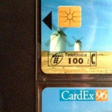 Tarjetas telefónicas de colección: TARJETAS TELEFONICAS:P-217-A-218-A: CARDEX'96, ¡¡ CON CHIP F-6 !! (100+250 PTA.) RRRR (DESCRIPCIÓN). Lote 130479666
