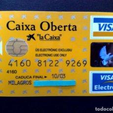 Tarjetas telefónicas de colección: TARJETA VISA ELECTRON-CASH-CON CHIP RECARGABLE-CAIXA OBERTA-LA CAIXA (DESCRIPCIÓN). Lote 130824384