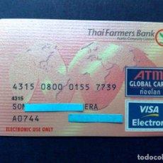 Tarjetas telefónicas de colección: TARJETA VISA ELECTRON-ATM-GLOBAL CARD-THAI FARMERS BANK (DESCRIPCIÓN). Lote 130825676
