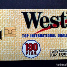 Tarjetas telefónicas de colección: TARJETA TELEFONICA:P-117-A: WEST (1000 PTA) ¡¡ CHIP F-4 !! 190 PTAS. TOP INT.QUALITY 1995 (DIFICIL). Lote 130998180