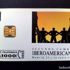 Tarjetas telefónicas de colección: ESPAÑA:P-003*:TARJETA TELEFONICA-II CUMBRE IBERO,TIRADA 3.000 EJEMPLARES,NUEVO (DESCRIPCIÓN). Lote 131108744