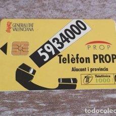 Tarjetas telefónicas de colección: TARJETA TELEFONICA - GENERALITAT VALENCIANA - PROP - ALICANTE. Lote 133923682