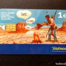 Tarjetas telefónicas de colección: ESPAÑA:TARJETA TELEFONICA (1€.) ENVIO SMS-EMAIL-FAX,TIRADA 10.500 EX. (DESCRIPCIÓN). Lote 136564870