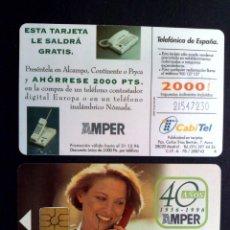 Tarjetas telefónicas de colección: ESPAÑA:CP-082-2:TARJETA TELEFONICA,40 AÑOS AMPER ¡¡NÚMEROS LÁSER REVERSO,SIN LETRA B!! (DESCRIPCIÓN). Lote 139261206