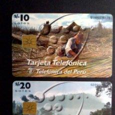 Tarjetas telefónicas de colección: DOS TARJETAS TELEFONICAS DEL PERÚ DE DIEZ Y VEINTE SOLES-TELEFONICA Y CABLE MAGICO (DESCRIPCIÓN). Lote 142671158