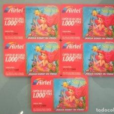 Tarjetas telefónicas de colección: 5 TARJETAS DE RECARGA DE AIRTEL LA SIRENITA. Lote 147098282