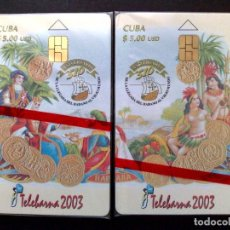 Tarjetas telefónicas de colección: PUZZLE DE 2 TARJETAS TELEFONICAS,TELEBARNA 2003 (CUBA) TIRADA 1.000 EX.,NUEVAS CON PRECINTO.. Lote 147277050