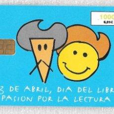 Tarjetas telefónicas de colección: TARJETA TELEFONICA. DIA DEL LIBRO. QUIJOTE. 1999. 1000 PTA. Lote 148067034