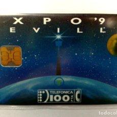 Tarjetas telefónicas de colección: ESPAÑA:G-004*:TARJETA TELEFONICA (100 PTA) EXPO'92 SEVILLA,T.31.000 EX.,AÑO 1992,NUEVA (DESCRIPCIÓN). Lote 151960818