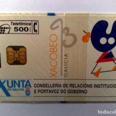 Tarjetas telefónicas de colección: ESPAÑA:P-027:TARJETA TELEFONICA (500 PTA) XACOBEO,T.2.000 EX.,AÑO 1993,NUEVA-DESCRIPCIÓN). Lote 151965526