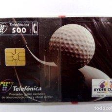 Tarjetas telefónicas de colección: ESPAÑA:P-278:TARJETA TELEFONICA (500 PTA) RYDER CUP'97,T.5.100 EX.,AÑO 1997,NUEVA-DESCRIPCIÓN). Lote 151966154