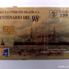 Tarjetas telefónicas de colección: ESPAÑA:P-290:TARJETA TELEFONICA (250 PTA) FERIA CENT.'98 T.6.000 EX.,AÑO 1997,NUEVA-DESCRIPCIÓN). Lote 151966814