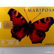 Tarjetas telefónicas de colección: TARJETA TELEFONICA:P-212: MARIPOSA,PAVO REAL (100 PTA.)TIRADA 5.000 EJEMPLARES,SERIE EUROPA.(05/96). Lote 153523362