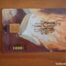 Tarjetas telefónicas de colección: TARJETA TELEFÓNICA. MIGUEL DE CERVANTES, 450 ANIVERSARIO. 1000 PESETAS. BUEN ESTADO. Lote 157093810