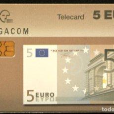 Tarjetas telefónicas de colección: TARJETA TELEFONICA MONEDAS BILLETE DE 5 EUROS BELGACOM 1997 BELGICA. Lote 166390990