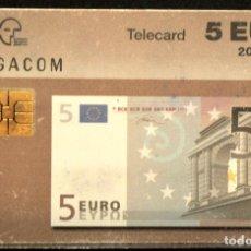 Tarjetas telefónicas de colección: TARJETA TELEFONICA MONEDAS BILLETE DE 5 EUROS BELGACOM 1997 BELGICA. Lote 166391026