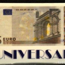 Tarjetas telefónicas de colección: TARJETA TELEFONICA MONEDAS BILLETE DE 5 EUROS UNIVERSAL. Lote 166391214